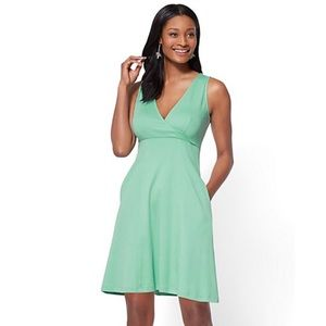 NWT NY&Co V-Neck Fit and Flare Dress in Mint